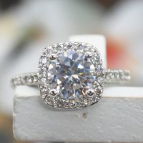 Luxury Design Fashion Gold Plated Big Zircon Inlayed Crystal Rings