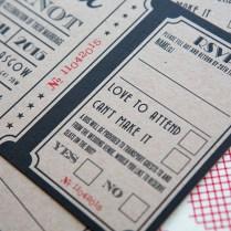 Vintage Cinema Ticket Wedding Invites And Wedding Stationery