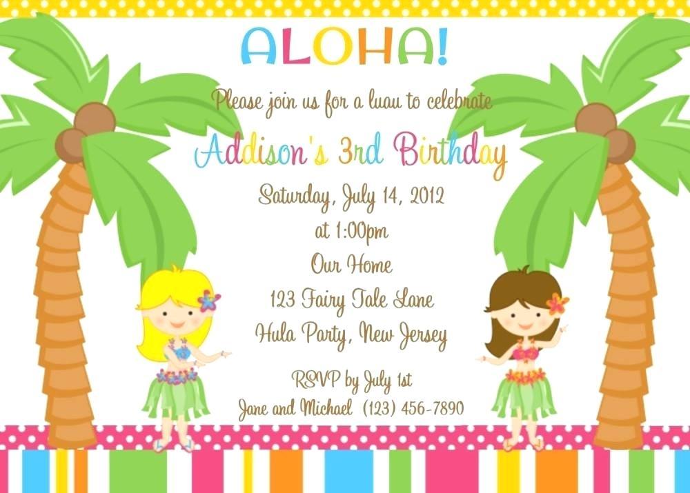 Image Of Free Hawaiian Themed Birthday Party Invitations