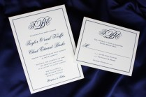Formal Navy Blue Monogram And Border Wedding Invitations