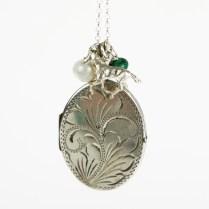 Extra Large Vintage Silver Locket Necklace