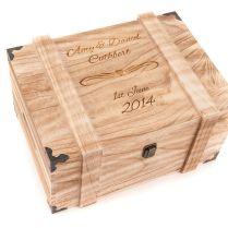 Personalised Engraved Wedding Wooden Keepsake Memory Chest Memory