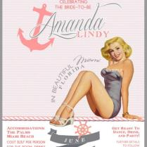 Pink And Gray Nautical Vintage Pin Up Girl Invitation Bachelorette