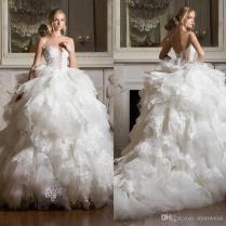 Pnina Tornai 2017 Tiered Skirts Wedding Dresses Backless Lace