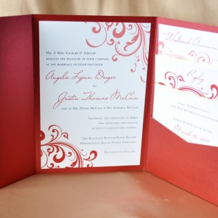 Pocket Folder Wedding Invitation Kits Red Swirl With Gold Accents