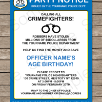 Police Party Invitations Template