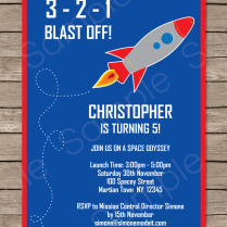 Space Rocket Party Invitations Template
