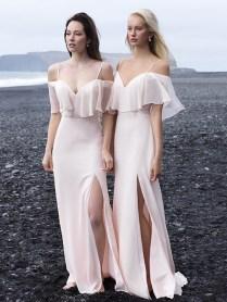 Custom Made Pink Cold Shoulder Chiffon Long Bridesmaid Dress On Luulla