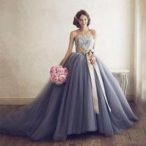 Strapless Lace Top Ball Gown Wedding Dresses Floor Length Ruched
