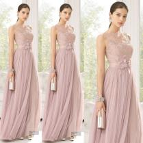 Cheap Bridesmaid Dresses Blush Color Tulle Lace Hand Made Flowers