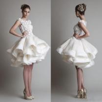 Discount Krikor Jabotian Short Lace Wedding Dresses 2018 Bateau