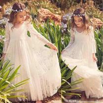 Vintage Ivory Full Lace Bohemian Flower Girl Dresses For Wedding