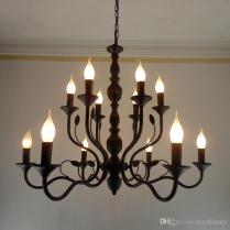 Luxury Rustic Wrought Iron Chandelier E14 Candle Holder Hanging