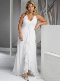 Beach Plus Size Wedding Dresses Cheap V Neck Halter Wedding Gown