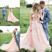 Discount Country Western Blush Pink Wedding Dresses Beach A Line V