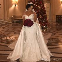 New Beaded Lace Wedding Dresses With Detachable Train Off Shoulder