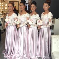 2018 New Design Long Sleeves Bridesmaid Dresses White Lace