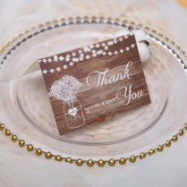Rustic Stringlights And Babybreath Mason Jar Thank You Card