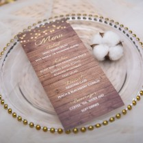 Rustic Stringlights And Babybreath Mason Jar Wood Menu Card