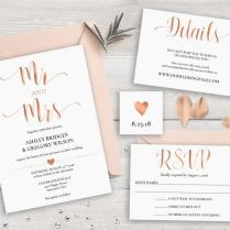 Sale 40 Off Rose Gold Wedding Invitation Suite Template
