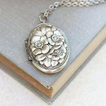 Silver Locket Necklace Antique Silver Floral Pendant Vintage Style