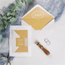 Simple Yellow Monogram Wedding Invitations With Vellum Paper Belly