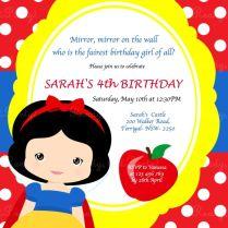 Snow Whit Spectacular Snow White Birthday Invitations