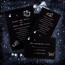 Trendy Black And White Wedding Invitations With Real Wedding Party