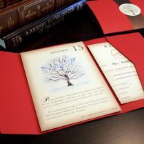 Vintage Book Winter Wedding Invitation Set, Snow And Tree Vintage