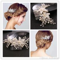 Vintage Wedding Bridal Hair Comb Headpiece Silver Crystal