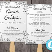Vintage Wedding Program Fan Template, Fan Wedding Program Template