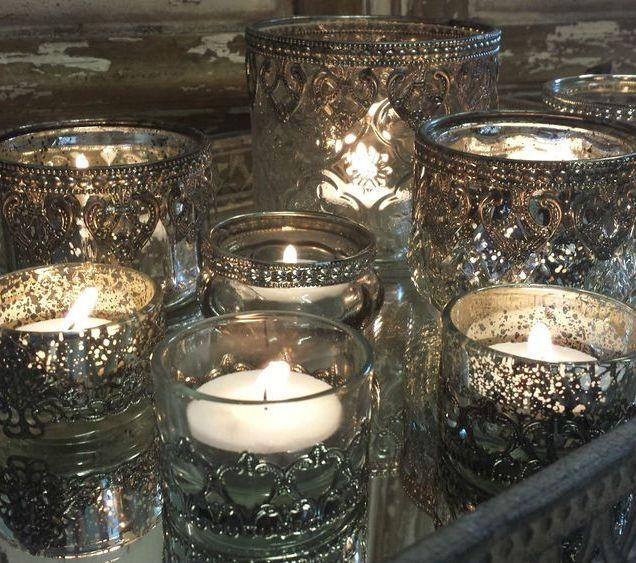 Chic Antique Style Glass & Metal Vintage Tea Light Candle Holder