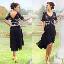 2017 New Elegant Navy Blue Mother Of The Bride Dresses With Half
