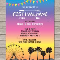 Coachella Party Invitations Template – Bright Colors In 2019