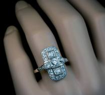 Art Deco Diamond Platinum White Gold Ring 1920s
