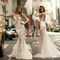 Berta 2018 Mermaid Wedding Dresses Illusion Long Sleeves Delicate