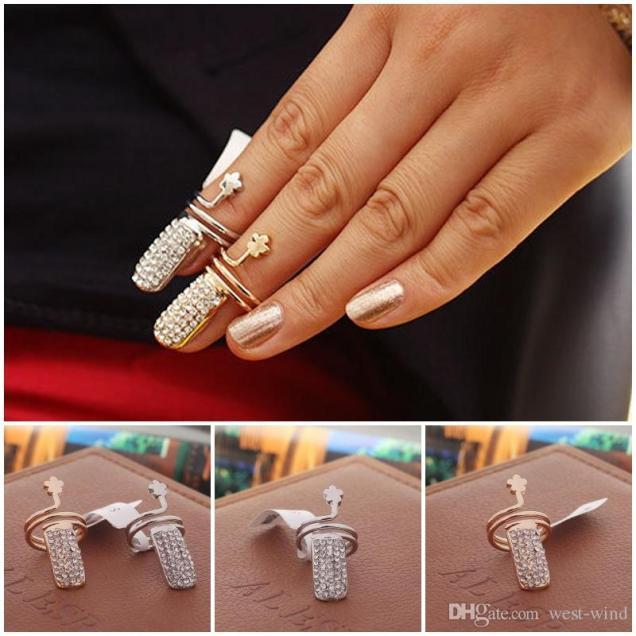 Exquisite Women's Nail Rings Flower Design Finger Tip Rings Unique