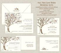Fall Tree Love Birds Wedding Invitations Wedding Invites Tree