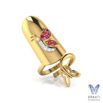 Gold Nail Ring Exquisite Womens Nail Rings Flower Design Finger