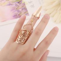 Gold Nail Ring New Exquisite Cute Retro Cz Diamond Rose Finger