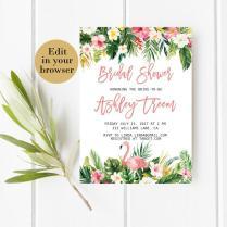 Tropical Bridal Shower Invitation Template Editable Bridal