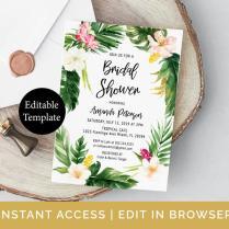 Tropical Bridal Shower Invitation Template Summer Bridal