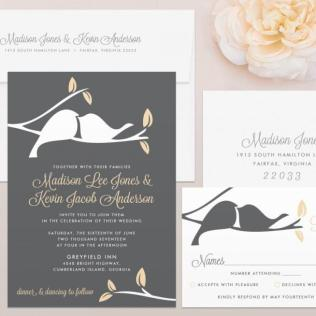 Love Birds Wedding Invitation & Rsvp Set