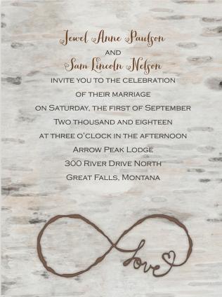 Infinity Love Wedding Invitation Featuring Peoni Pro Font
