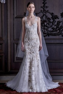 Monique Lhuillier Spring 2016 Lace Mermaid Wedding Gown With Open