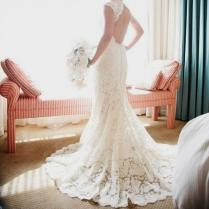 Monique Lhuillier Scarlet French Lace Open Back Wedding Dress Naf