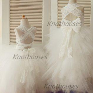 Backless Lace Tulle Flower Girl Dress Children Toddler