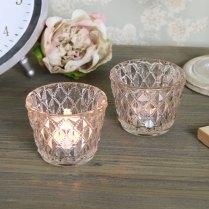 Pair Vintage Antique Gold Cut Glass Tealight Holder Shabby Vintage