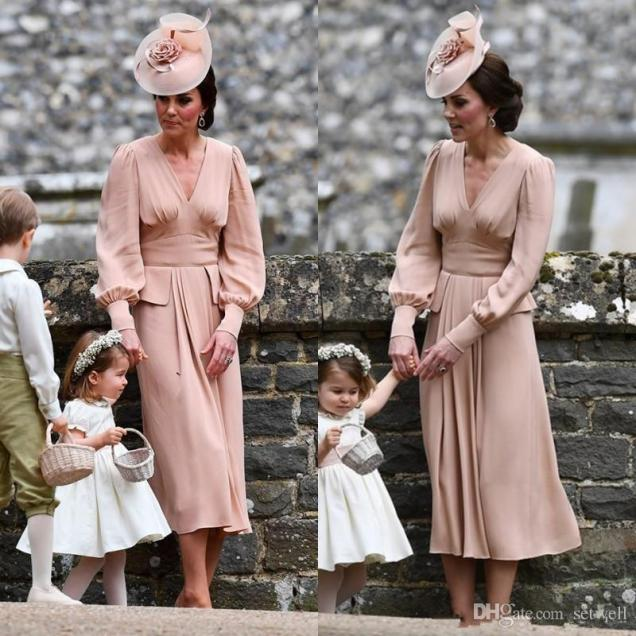Simple Chiffon Mother Of The Bride Dress Long Sleeves Tea Length