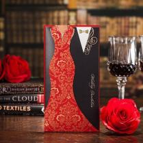 Typical Asian Red Black Panelled Wedding Invitations Cards Dress